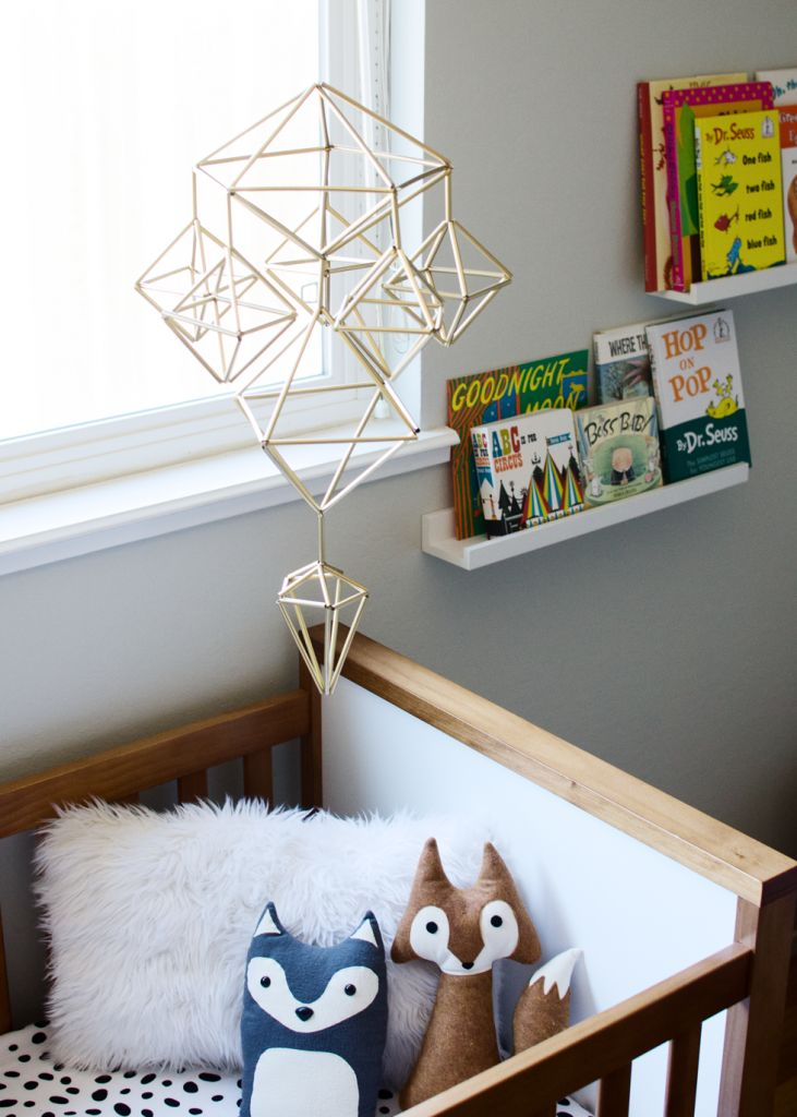 Made from straws spray painted gold. Cute and interesting. DIY Himmeli Mobile | brittanyMakes