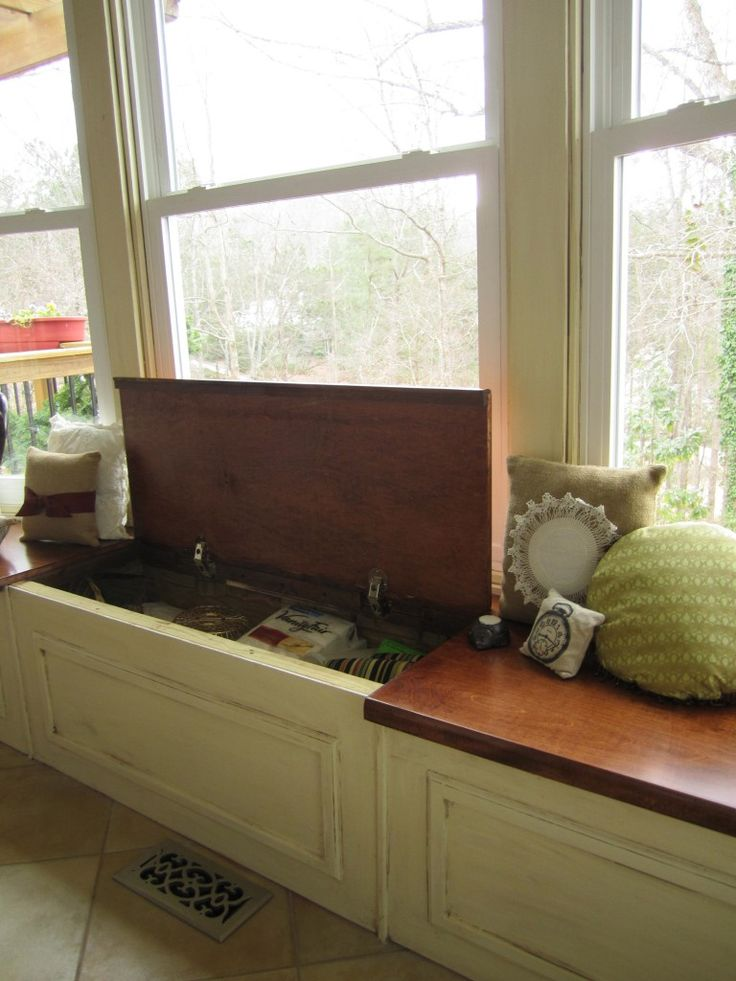 Mesmerizing Wooden Custom Bay Window Replacement With Great Storage Ideas