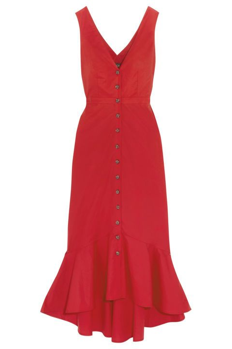 Be the literal Woman in Red Dress emoji with this Saloni Zoey Cutout Cotton-Blend Poplin Midi Dress.