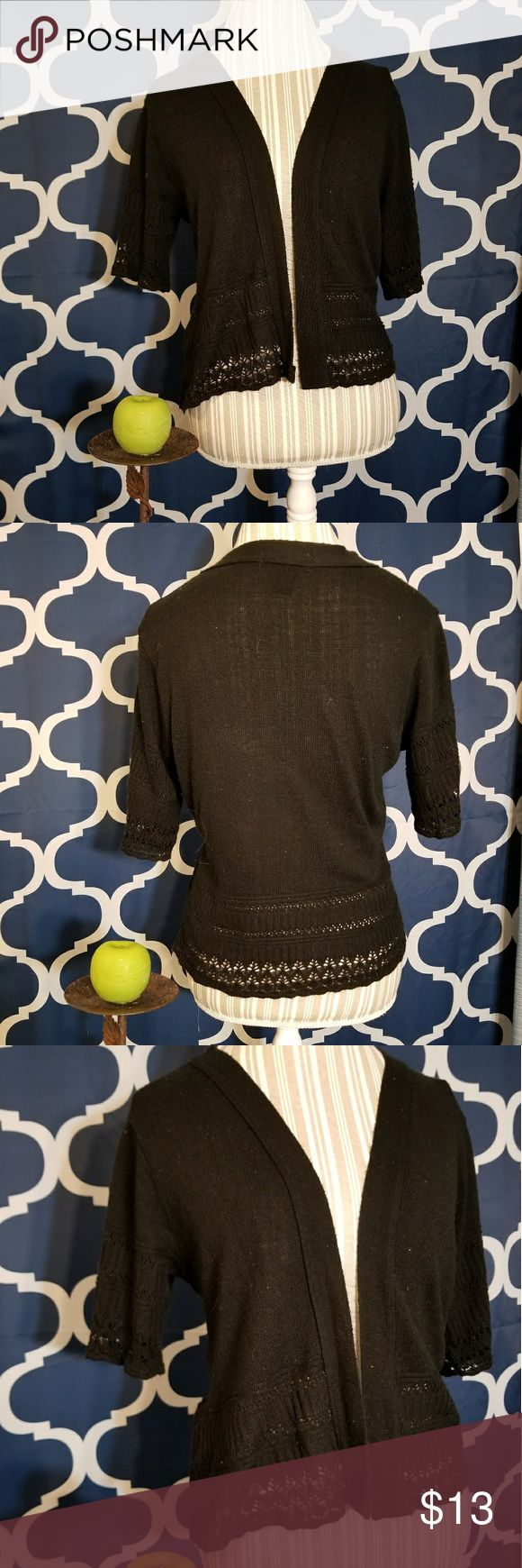 🌻🌺🌻CUTE BLACK SHRUG CARDIGAN!! CUTE BLACK SHRUG CARDIGAN!! Size large. Has crochet detail on sleeves and lower trim. Very versatile. No flaws, has some lint on it but I will clean that up for you 😁 Posh Ambassador, buy with confidence! Check out my other items to bundle and save on shipping! Reasonable offers welcome. I ship same or next day!    Inventory #RA47 Sweaters