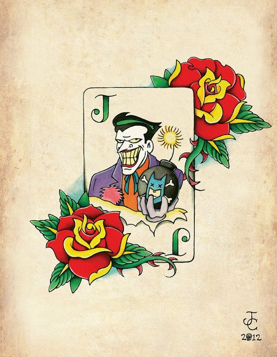Joker Card NeoTraditional Old School Tattoo Flash by TheTattooGirl, $5.00