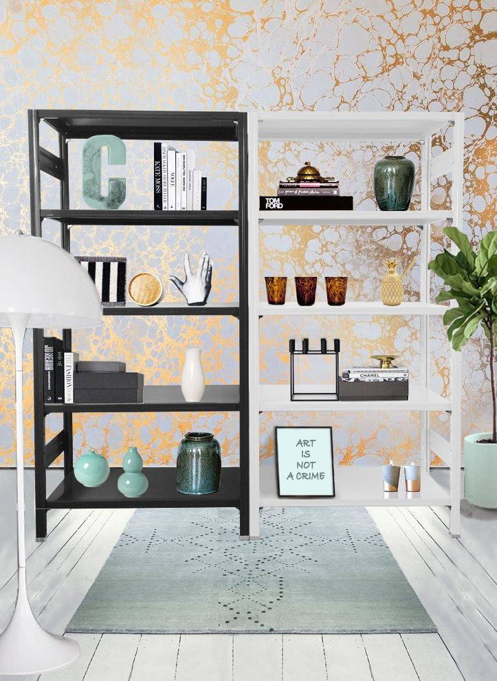 VARNISHED METAL SHELVING COMPOSED OF TWO MODULES H 200 WHITE AND IRON GRAY COLORS