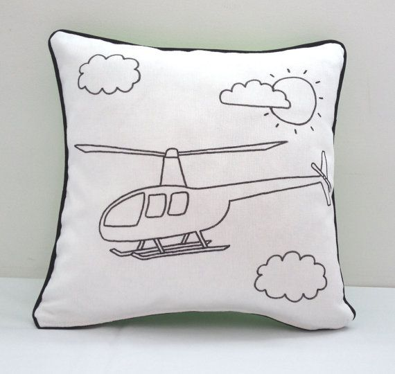Colouring In Helicopter Design Cushion Cover | Kids Hand Drawn Black
