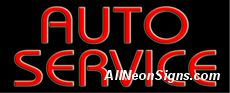 Auto Service Neon Sign-10210  Auto Service Neon Sign - Much like our neon auto repair sign, this neon auto service sign also attracts owners with their ailing cars that are in desperate need of some attention into your shop. With radiant red lettering, it's a slightly bolder model that lets customers know you can handle the big jobs, say a new differential or engine rebuild?