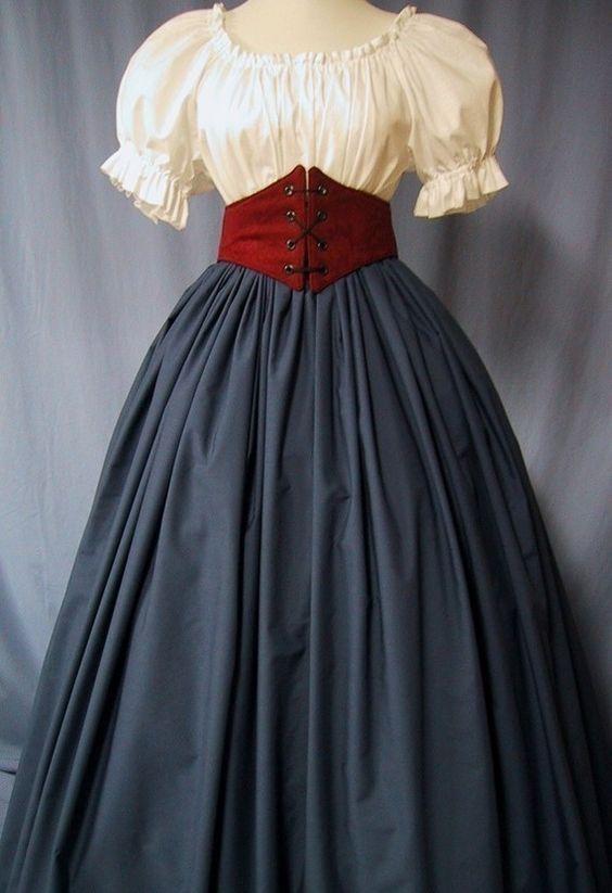 Cheshire Cat - Civil War Reenactment Costume - Long SKIRT Navy Blue Color - Pioneer, Colonial, Victorian, Renaissance Faire Event - Handmade