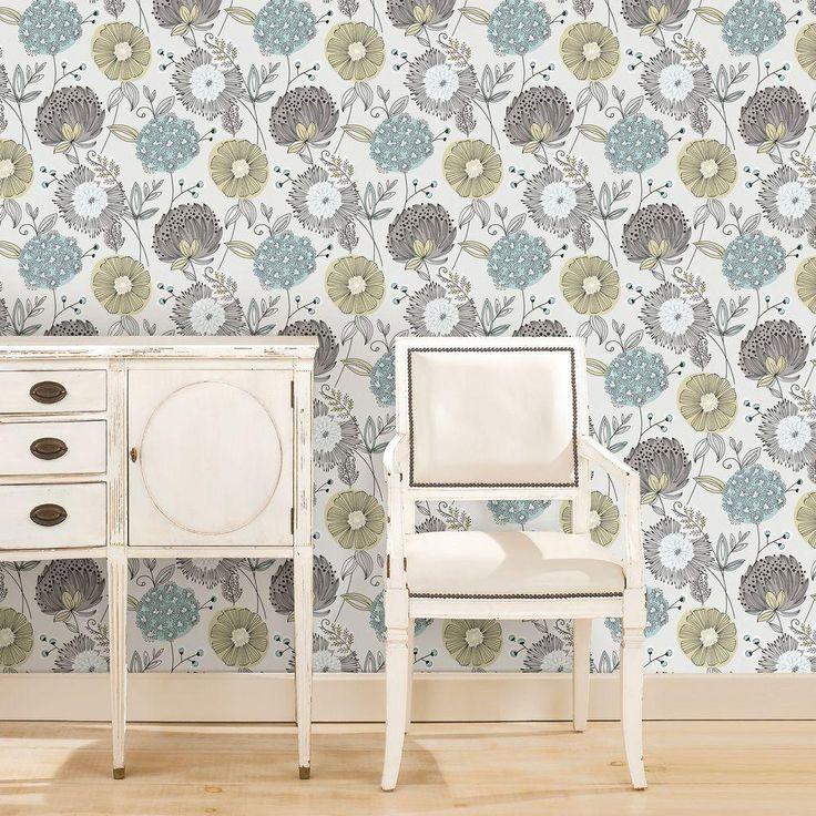 Brewster 57.5 sq. ft. Aqua Modern Floral Wallpaper-WV5654 - The Home Depot