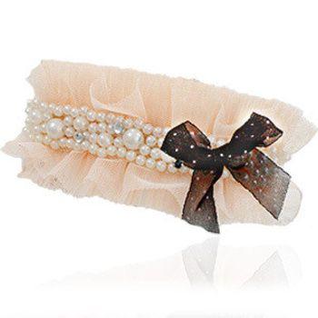 OKBA 韩国进口饰品  蕾丝珍珠蝴蝶结边夹顶夹发夹子