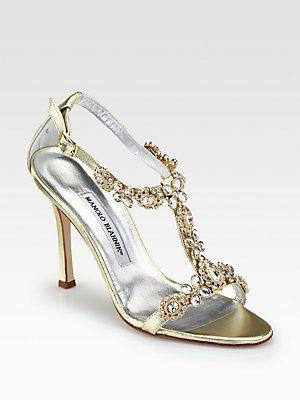 Manolo Blahnik Ratin Metallic Leather Sandals