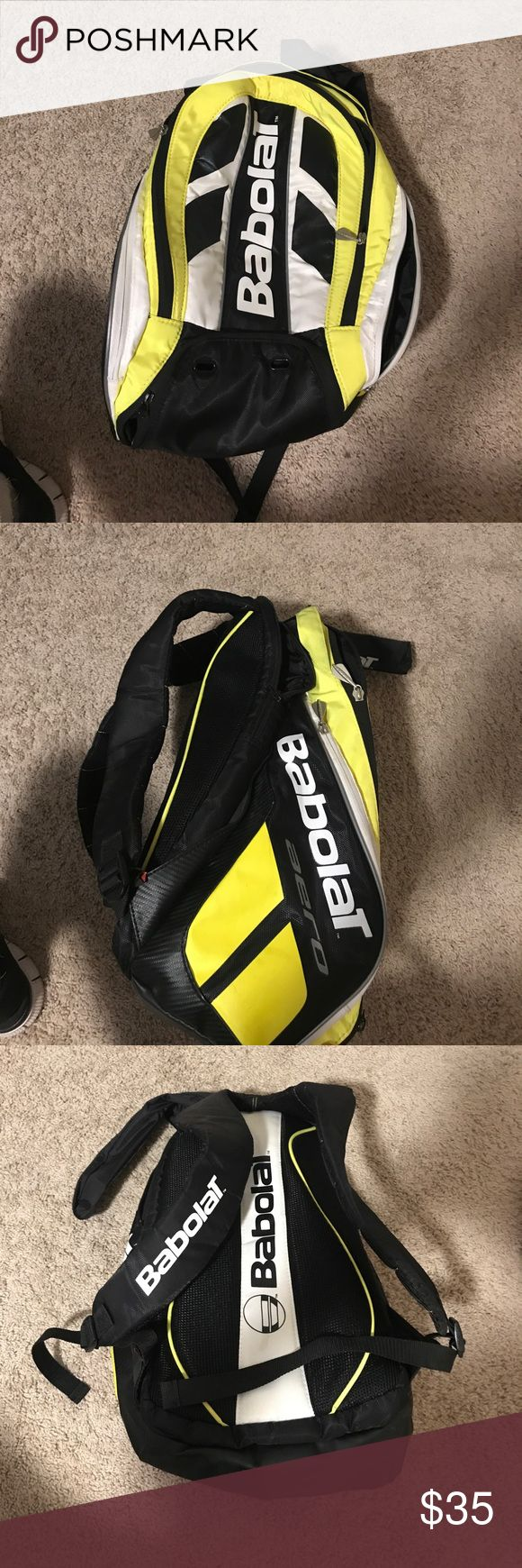 Babolat Tennis bag Yellow and black babolat tennis bag. In great condition, 3 pockets and 2 side pockets Bags Backpacks
