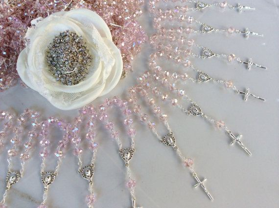 Pink Crystal Mini Rosary Baptism Favors 100 pcs Crystal and Silver