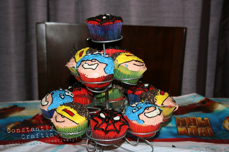 Super Hero Cupcakes: Heroes, Birthday Parties, X Men Cupcakes, Superhero Birthday Party, Cupcake Ideas, Super Hero Cupcakes, Cupcake Faces, Birthday Ideas