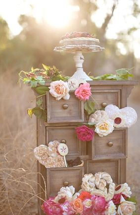 Flowers on a Rustic Dessert Table- Rustic Chic Dessert Tables on earlyivy.com