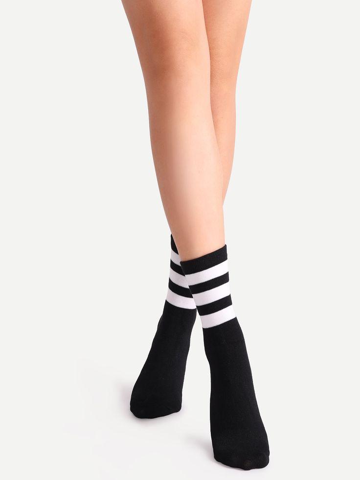 Shop Black Striped Crew Socks online. SheIn offers Black Striped Crew Socks & more to fit your fashionable needs.