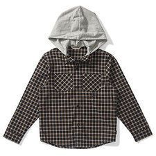 Checkered cotton flannel shirt with contrast jersey hood. Button front with two front pockets. #winterfashion #boys