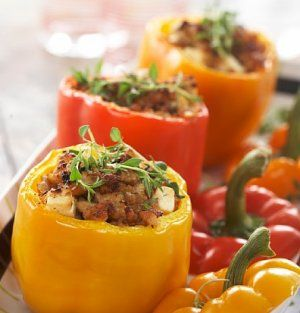 Fylt paprika med kyllingkjøttdeig.