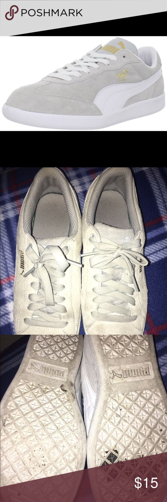 Grey and white puma suede sneakers Very used, puma sneakers. Selling for cheap!! Puma Shoes Sneakers