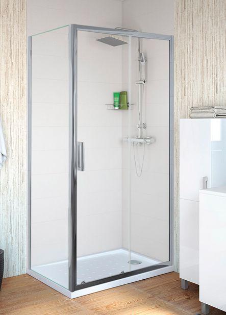 Mampara rectangular para plato de ducha de 140x70cm, vidrio transparente y perfilería cromada.