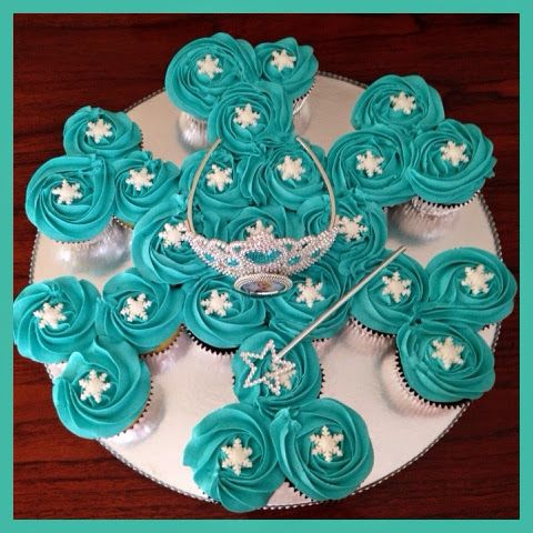 Today's cupcake cake is for my daughter's best friend's Frozen themed birthday party. Snowflake shaped cupcake cake with white fondant snowf...