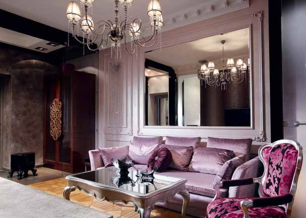 An Ultra Feminine Lilac Room With Magenta And Silver Accents.