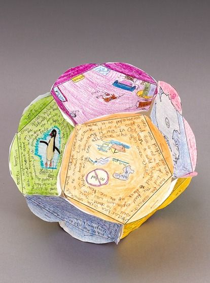 Construct a twelve-sided paper globe to display facts learned while exploring Antarctica. This activity is about geography, ecosystems and writing skills.| learning activity for kids Grades 4,5,6: All About Antarctica