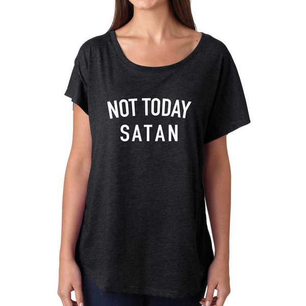 Not Today Satan Shirt Super Soft and Flowy Off the Shoulder Women's... ($20) ❤ liked on Polyvore featuring tops, t-shirts, red, women's clothing, vintage tee-shirt, vintage tees, off shoulder t shirt, off the shoulder shirts and loose t shirt