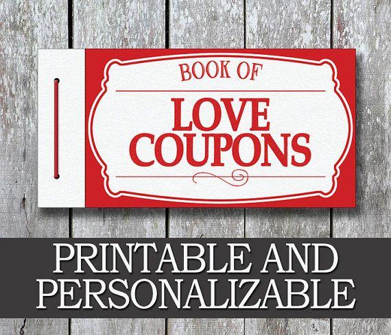printable love coupon book  boyfriend valentine day gift