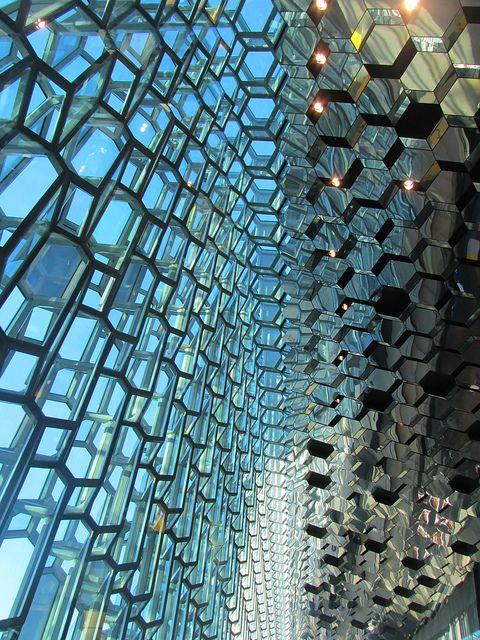 architecture interio - glass patterns -Harpa Concert Hall in Reykjavik, Iceland  (by JulesFoto).