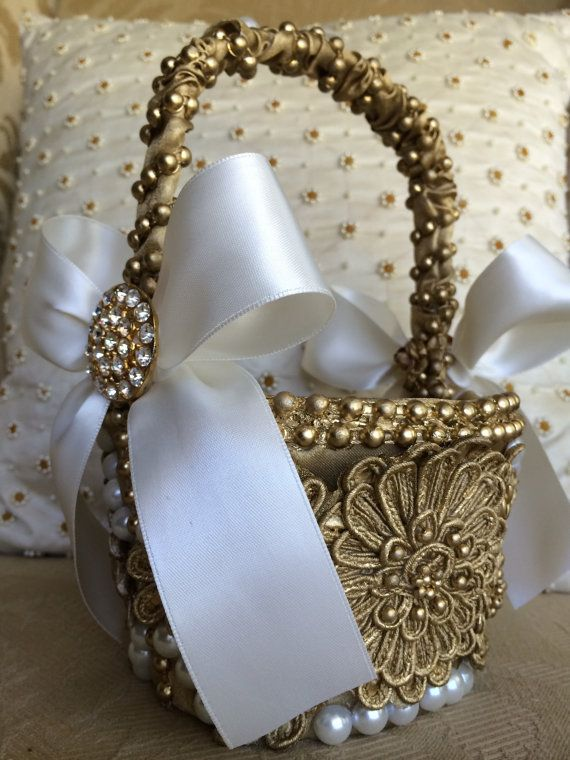 gold flower girl basket with brooch flower by TheCrystalFlower, $110.00