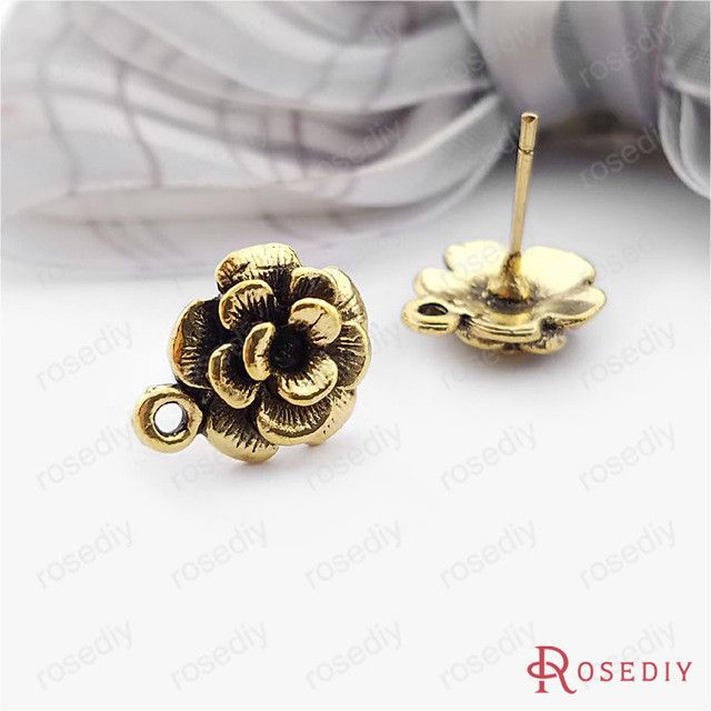 (19235)20PCS flower:12MM Antique Silver Plated Connector Flower Stud Earrings Accessories Diy Handmade Jewelry Findings