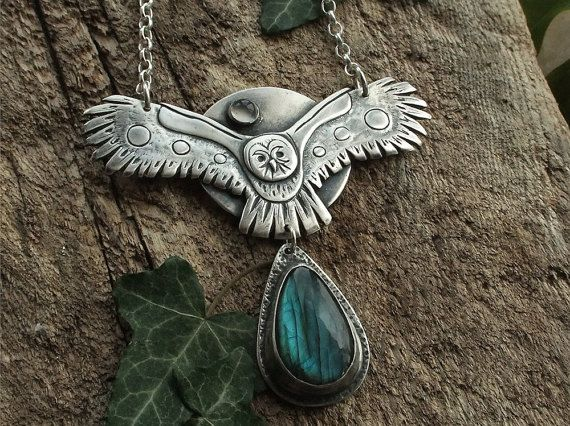 Big Fine Silver Owl Pendant Necklace, Labradorite & Moonstone on Sterling Silver Chain Necklace - Handmade from Solid Fine Silver