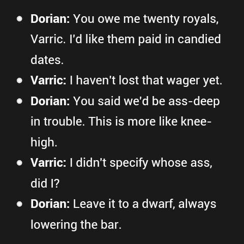Best conversation ever! XD  Dorian/Varric, DA: I.