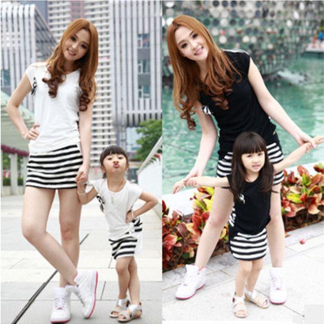 2016 vestidos de traje de manga corta de verano de la familia de madre e hija stripe casual deporte vestidos de madre e hija ropa
