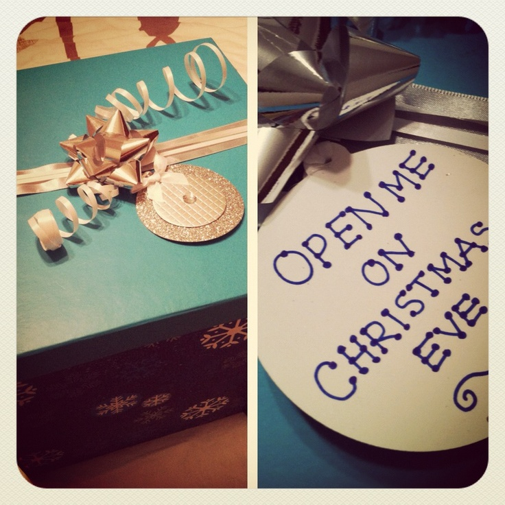 Our first Christmas Eve box :) New PJ's, Christmas movie, hot chocolate, and popcorn. I can't wait!!
