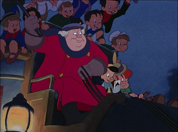 In Pinocchio, The Coachman (Barker) is first seen conversing with Foulfellow and his cat assistant Gideon. At first Barker seems like a laidback kind of guy, but then viewers find-out just how evil and conniving he can truly be. As the scene ends Barker is dominating the conversation. He's later shown to be the coach driver to Pleasure Island (a very bad place) where he sells bad little boys who were turned into donkeys to foreign countries. Barker was originally voiced by actor Don Brodie.