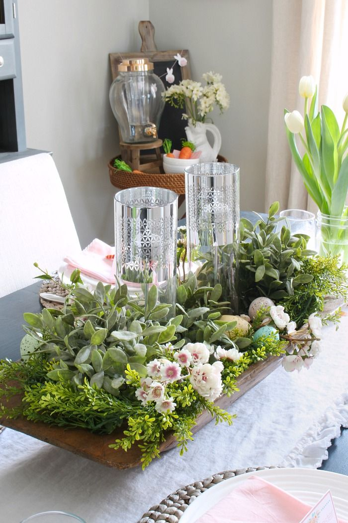 Spring Centerpiece With A Dough Bowl And Other Decorations
