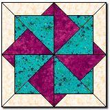 "Twisting Star Block 12"" block http://www.quilterscache.com/T/TwistingStarBlock.html"