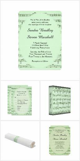 Sheet Music Green Wedding Invitation Suite