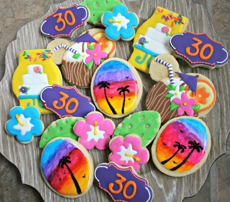 Tropical Decorated Cookies-Luau Cookies, Hawaiian Cookies, Sunset Cookies by MaMiMorCookies on Etsy