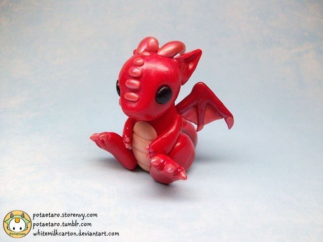 Adorable red dragon, sculpted of polymer clay. (click thru for artist's DeviantArt page)