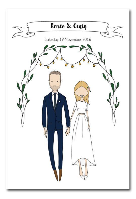 Illustrated wedding invitation by Blanka Biernat