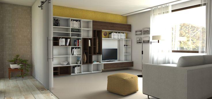 Praktická obývačková stena s priestorom na TV a knižnicou