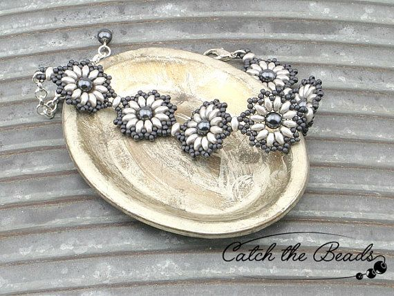 All Shades of Gray Floral Beaded Bracelet by CatchTheBeads on Etsy