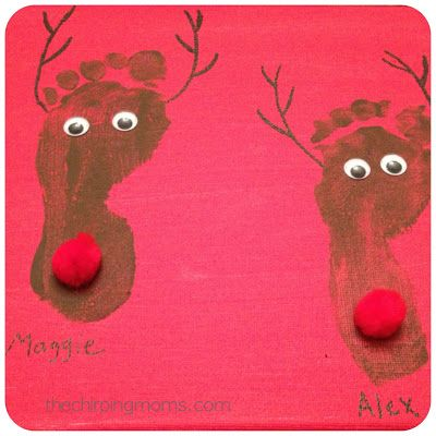 What a cute idea for a classroom holiday craft featuring feet and reindeer!! Could also imprint into cinnamon dough and bake to make memorable footprint christmas ornaments. What a cute homemade craft idea for the holiday season to do with kids!