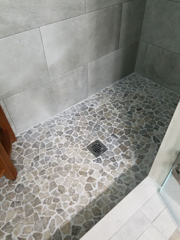 Stone Grey Mosaic Tile Bathroom Pinterest Pebble Tiles