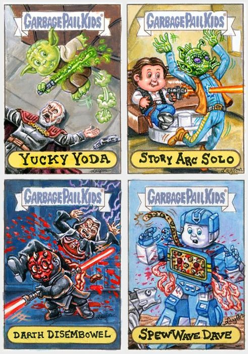 Garbage Pail Kids cards made up by  Layron DeJarnette (deviantART). They are all commissions for a show next month at Gallery 1988.