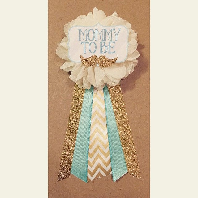 Gold Chevron, Teal, And Gold Glitter Mustache Baby Shower Pin  www.afalasca.etsy.com ...
