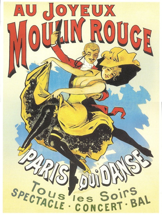 French MOULIN ROUGE, French cancan in Paris Advertising Poster - French Art nouveau. $9.00, via Etsy.