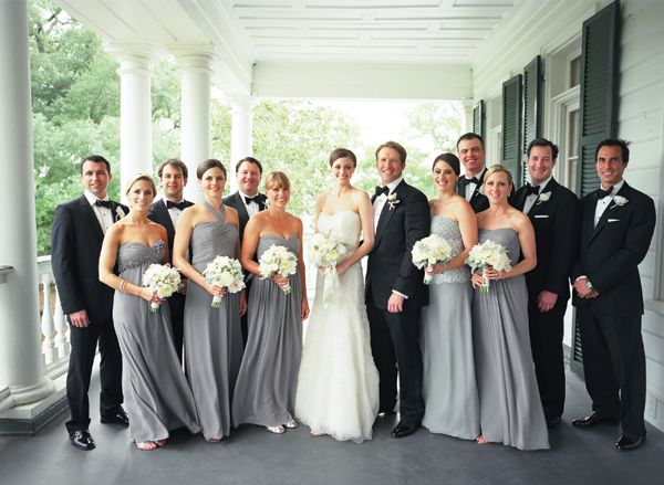 gray dresses / black tuxedos....this woman's wedding looks perfect