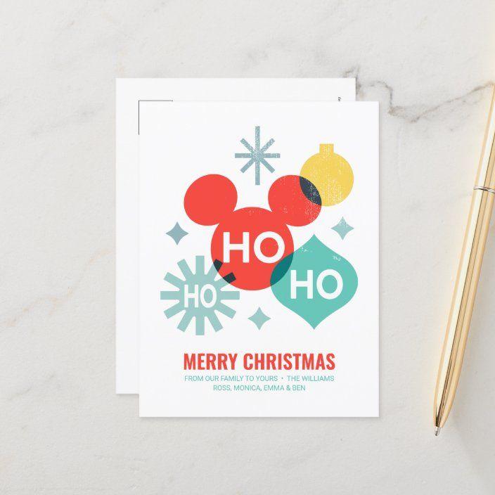 Mickey Mouse Ho Ho Ho Merry Christmas Holiday Postcard Zazzle Com Holiday Postcards Christmas Postcard Mickey Christmas