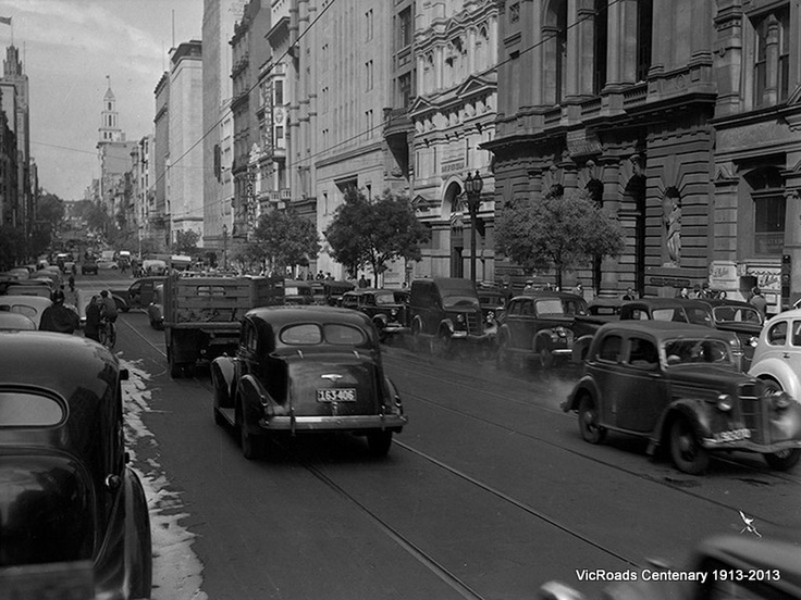 Traffic and parking in Collins Street, Melbourne Victoria, looking east, 1947. VicRoads Centenary 1913-2013.
